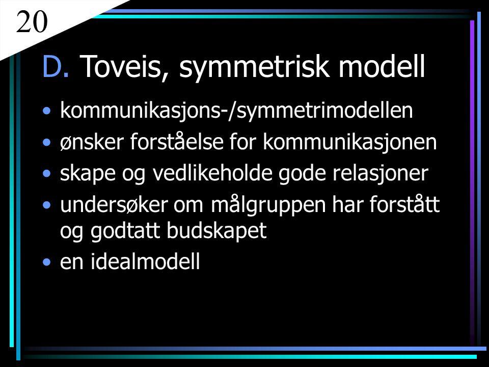 D. Toveis, symmetrisk modell kommunikasjons-/symmetrimodellen ønsker forståelse for kommunikasjonen skape og vedlikeholde gode relasjoner undersøker o