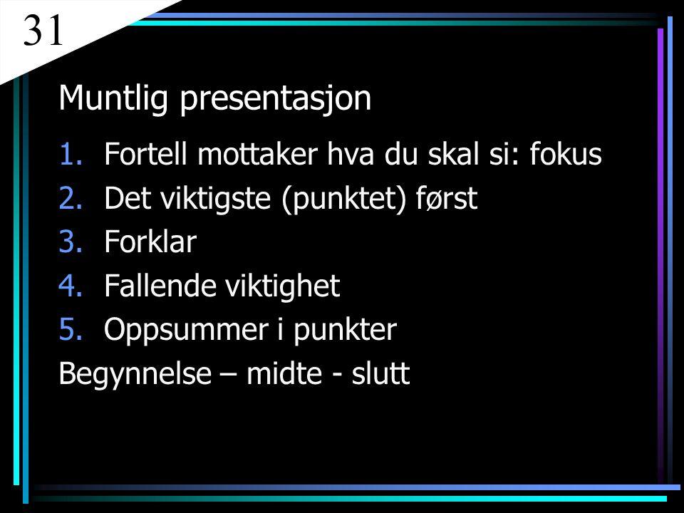 Muntlig presentasjon 1.Fortell mottaker hva du skal si: fokus 2.Det viktigste (punktet) først 3.Forklar 4.Fallende viktighet 5.Oppsummer i punkter Beg