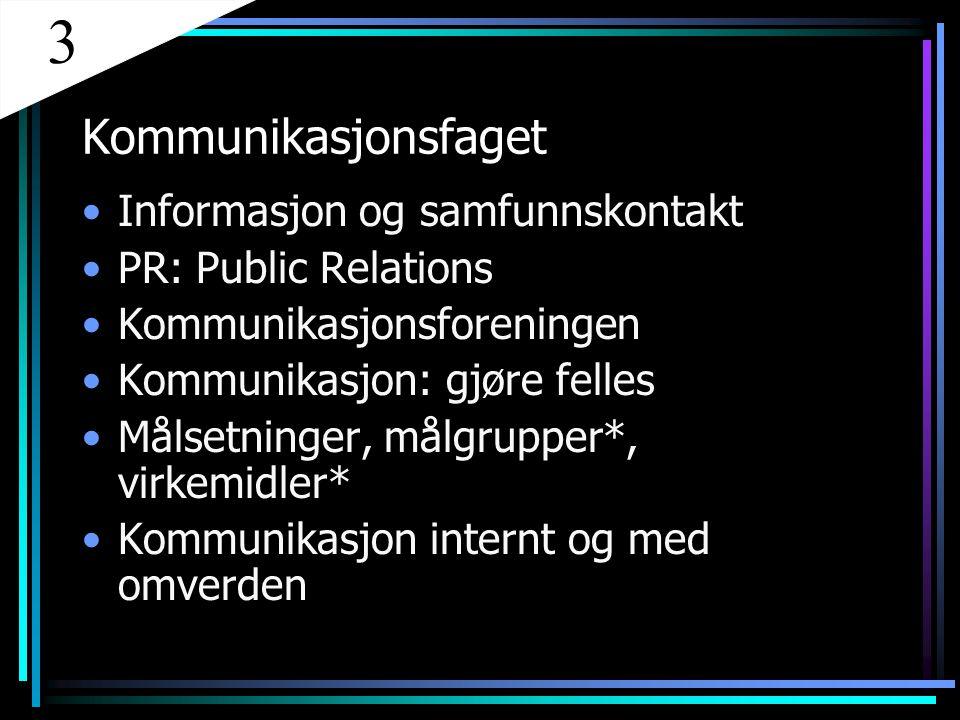 Kommunikasjonsfaget Informasjon og samfunnskontakt PR: Public Relations Kommunikasjonsforeningen Kommunikasjon: gjøre felles Målsetninger, målgrupper*