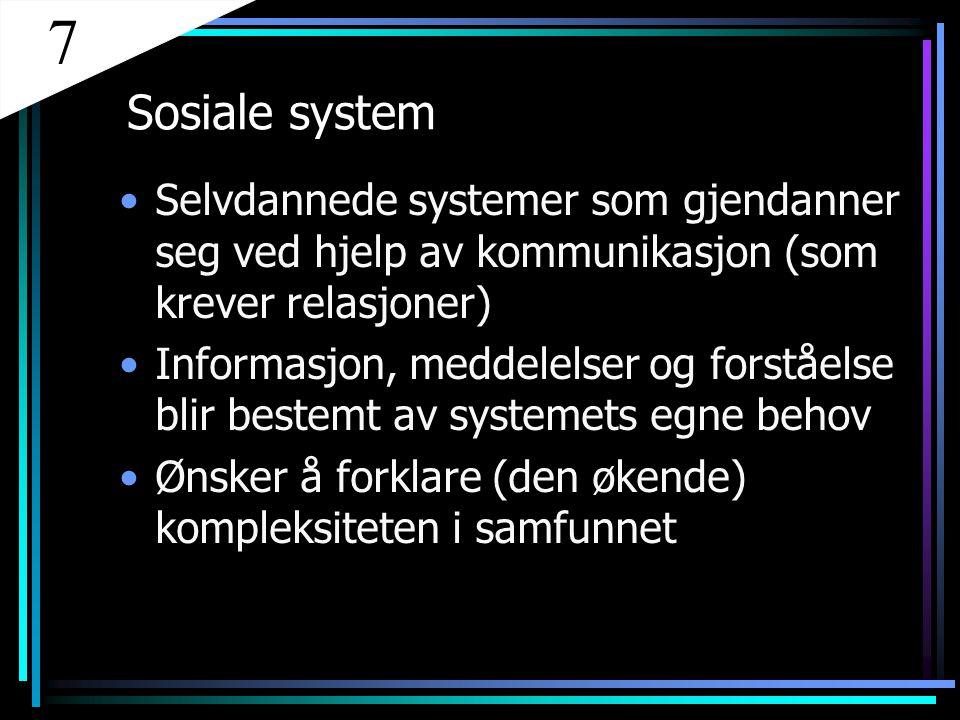 Sosiale system Selvdannede systemer som gjendanner seg ved hjelp av kommunikasjon (som krever relasjoner) Informasjon, meddelelser og forståelse blir