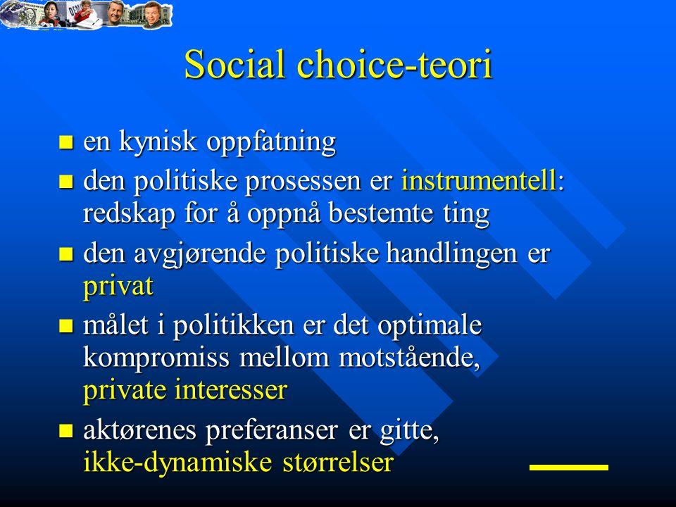 Social choice-teori en kynisk oppfatning en kynisk oppfatning den politiske prosessen er instrumentell: redskap for å oppnå bestemte ting den politiske prosessen er instrumentell: redskap for å oppnå bestemte ting den avgjørende politiske handlingen er privat den avgjørende politiske handlingen er privat målet i politikken er det optimale kompromiss mellom motstående, private interesser målet i politikken er det optimale kompromiss mellom motstående, private interesser aktørenes preferanser er gitte, ikke-dynamiske størrelser aktørenes preferanser er gitte, ikke-dynamiske størrelser