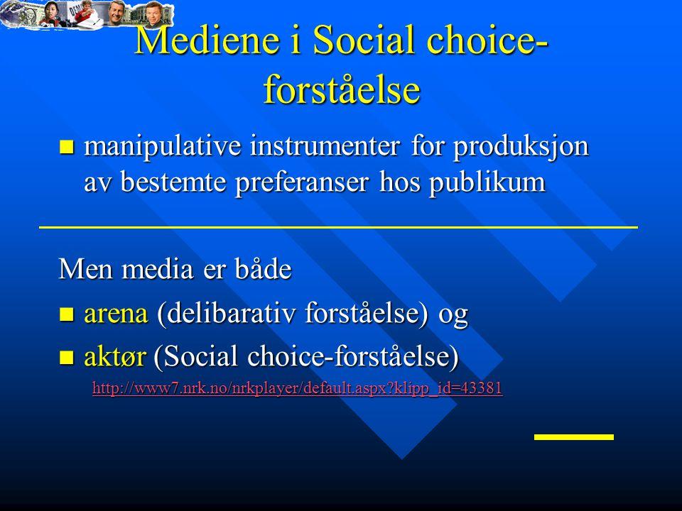 Mediene i Social choice- forståelse manipulative instrumenter for produksjon av bestemte preferanser hos publikum manipulative instrumenter for produksjon av bestemte preferanser hos publikum Men media er både arena (delibarativ forståelse) og arena (delibarativ forståelse) og aktør (Social choice-forståelse) aktør (Social choice-forståelse) http://www7.nrk.no/nrkplayer/default.aspx?klipp_id=43381