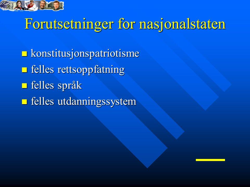 Forutsetninger for nasjonalstaten konstitusjonspatriotisme konstitusjonspatriotisme felles rettsoppfatning felles rettsoppfatning felles språk felles språk felles utdanningssystem felles utdanningssystem