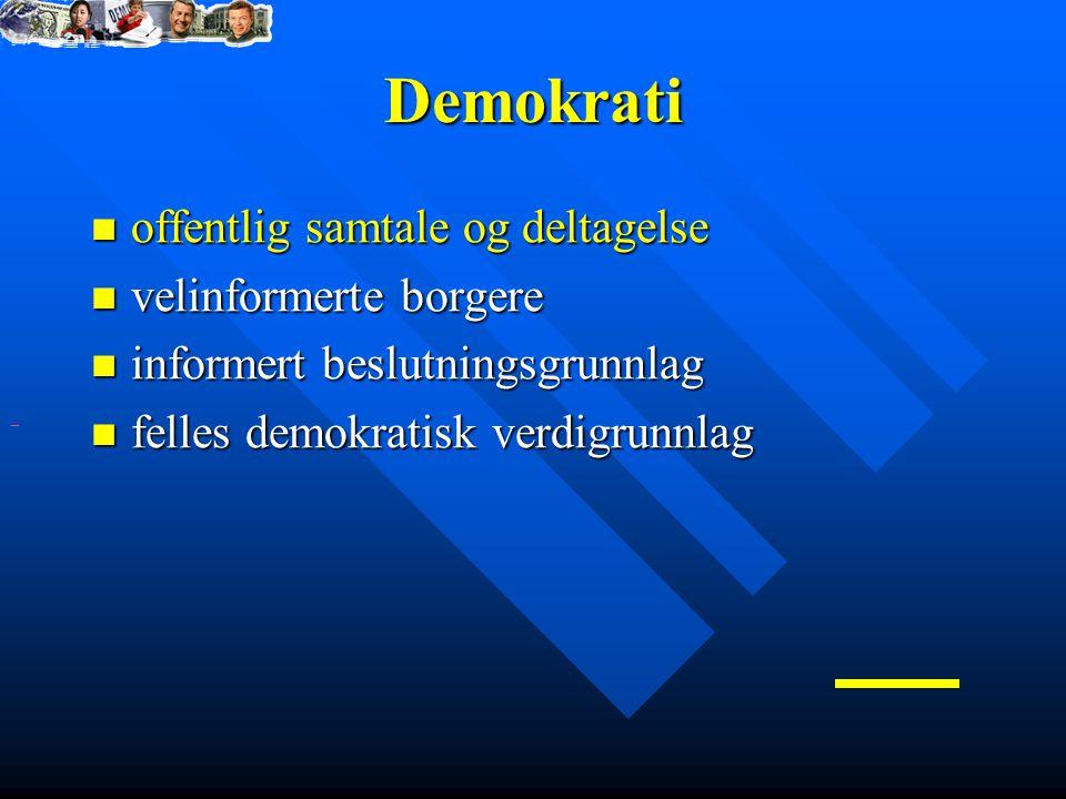 Demokrati offentlig samtale og deltagelse offentlig samtale og deltagelse velinformerte borgere velinformerte borgere informert beslutningsgrunnlag informert beslutningsgrunnlag felles demokratisk verdigrunnlag felles demokratisk verdigrunnlag