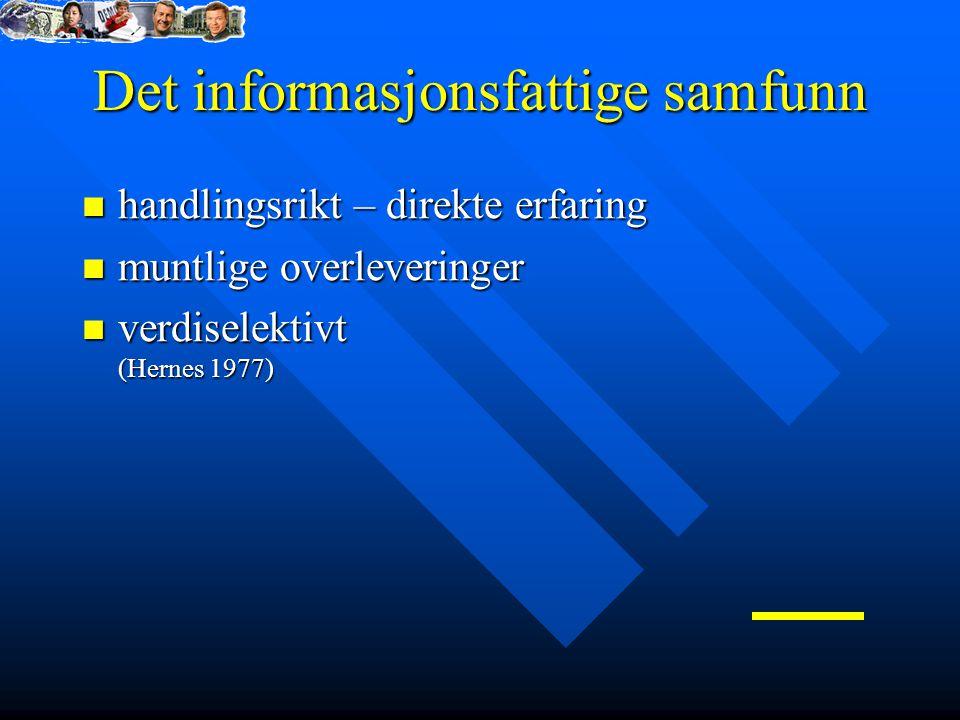 Det informasjonsfattige samfunn handlingsrikt – direkte erfaring handlingsrikt – direkte erfaring muntlige overleveringer muntlige overleveringer verdiselektivt (Hernes 1977) verdiselektivt (Hernes 1977)