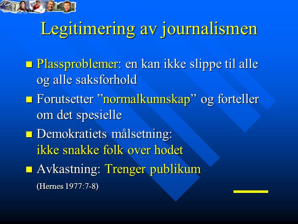 Legitimering av journalismen Plassproblemer: en kan ikke slippe til alle og alle saksforhold Plassproblemer: en kan ikke slippe til alle og alle saksf