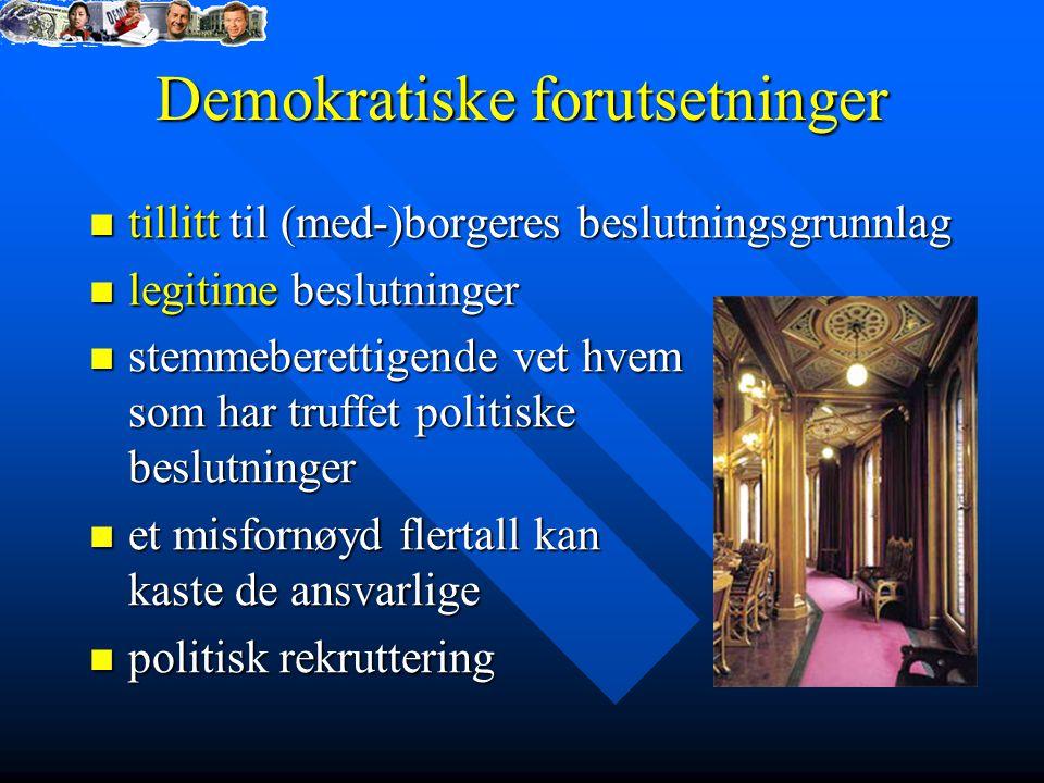 Demokratiske forutsetninger tillitt til (med-)borgeres beslutningsgrunnlag tillitt til (med-)borgeres beslutningsgrunnlag legitime beslutninger legiti