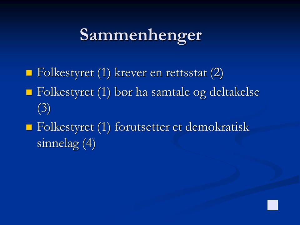 Sammenhenger Folkestyret (1) krever en rettsstat (2) Folkestyret (1) krever en rettsstat (2) Folkestyret (1) bør ha samtale og deltakelse (3) Folkesty
