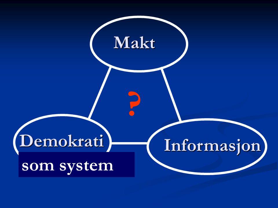 Makt Demokrati Informasjon ? som system