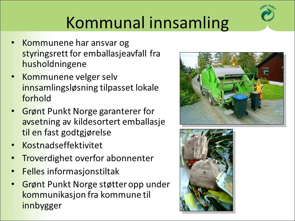 Kommunal innsamling Kommunene har ansvar og styringsrett for emballasjeavfall fra husholdningene Kommunene velger selv innsamlingsløsning tilpasset lo