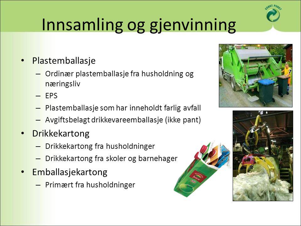Innsamling og gjenvinning Plastemballasje – Ordinær plastemballasje fra husholdning og næringsliv – EPS – Plastemballasje som har inneholdt farlig avf