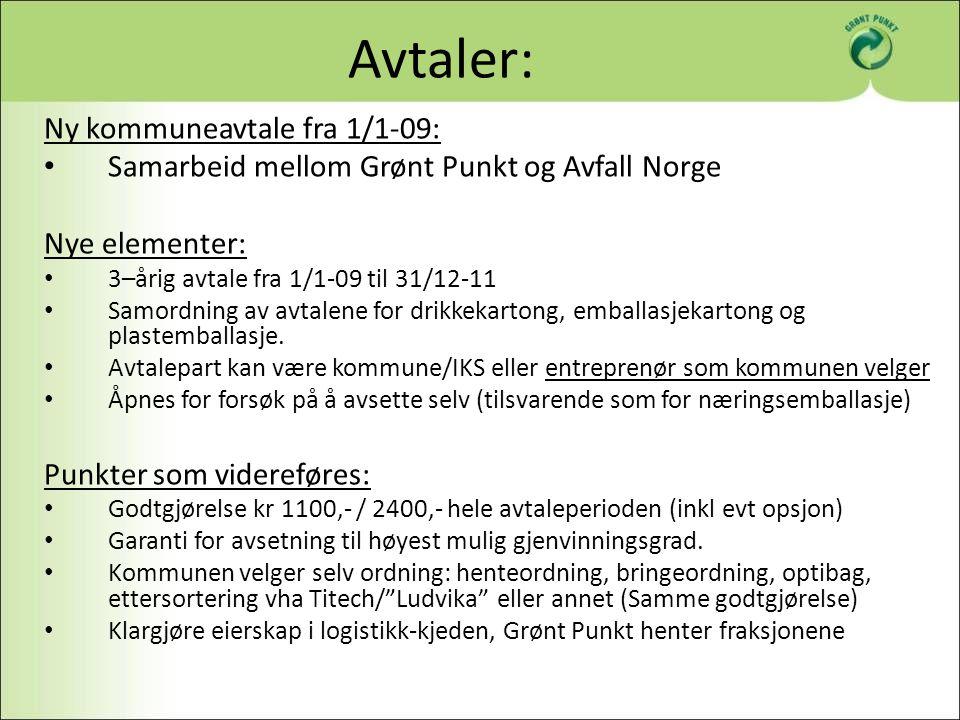 Avtaler: Ny kommuneavtale fra 1/1-09: Samarbeid mellom Grønt Punkt og Avfall Norge Nye elementer: 3–årig avtale fra 1/1-09 til 31/12-11 Samordning av