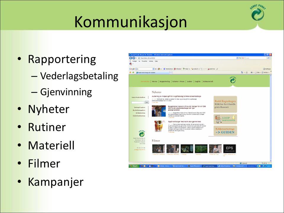 Kommunikasjon Rapportering – Vederlagsbetaling – Gjenvinning Nyheter Rutiner Materiell Filmer Kampanjer