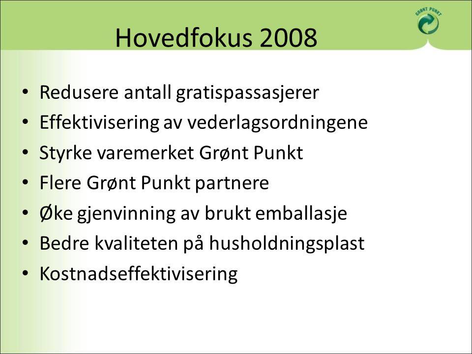 Hovedfokus 2008 Redusere antall gratispassasjerer Effektivisering av vederlagsordningene Styrke varemerket Grønt Punkt Flere Grønt Punkt partnere Øke