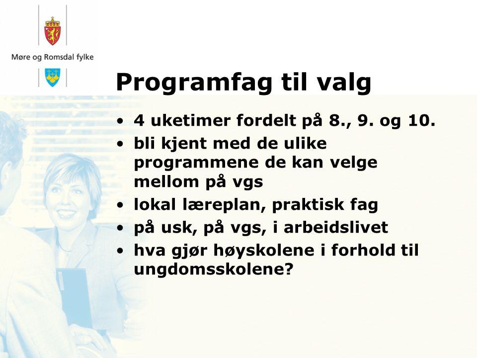 Programfag til valg 4 uketimer fordelt på 8., 9. og 10.