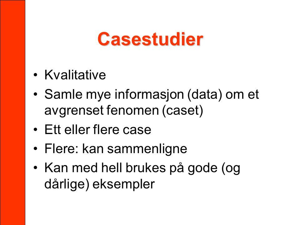 Casestudier Kvalitative Samle mye informasjon (data) om et avgrenset fenomen (caset) Ett eller flere case Flere: kan sammenligne Kan med hell brukes p