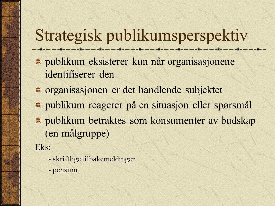 Strategisk publikumsperspektiv publikum eksisterer kun når organisasjonene identifiserer den organisasjonen er det handlende subjektet publikum reager