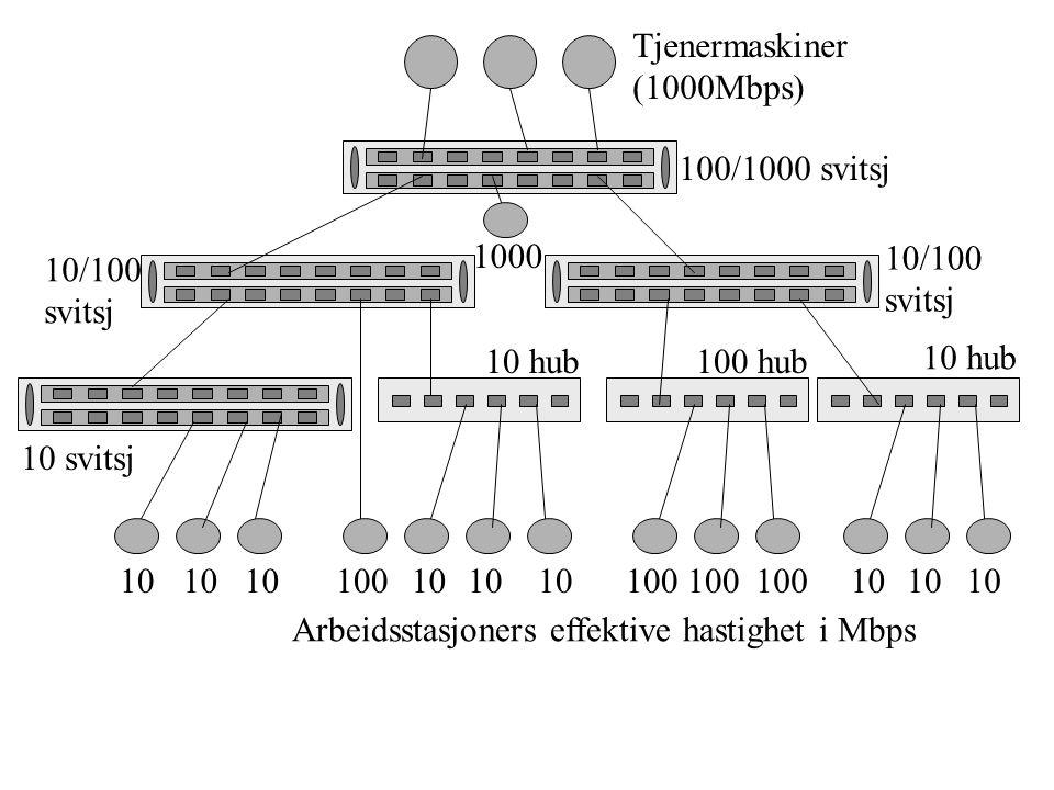 Tjenermaskiner (1000Mbps) 100/1000 svitsj 10/100 svitsj 10/100 svitsj 10 svitsj 10 hub100 hub 10 hub 10 10010 100 10 Arbeidsstasjoners effektive hastighet i Mbps 1000