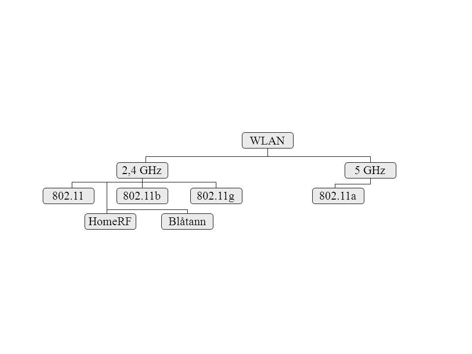 WLAN 2,4 GHz5 GHz 802.11g 802.11b802.11 HomeRFBlåtann 802.11a