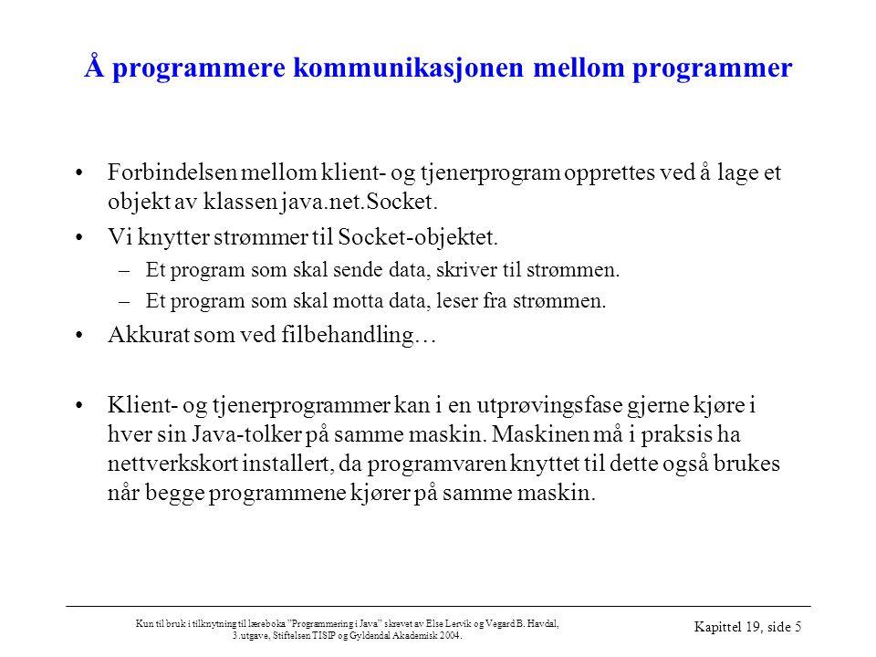 """Kun til bruk i tilknytning til læreboka """"Programmering i Java"""" skrevet av Else Lervik og Vegard B. Havdal, 3.utgave, Stiftelsen TISIP og Gyldendal Aka"""