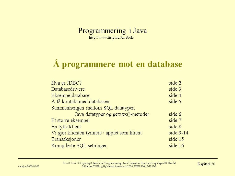 Programmering i Java http://www.tisip.no/Javabok/ versjon 2001-05-18 Kun til bruk i tilknytning til læreboka Programmering i Java skrevet av Else Lervik og Vegard B.