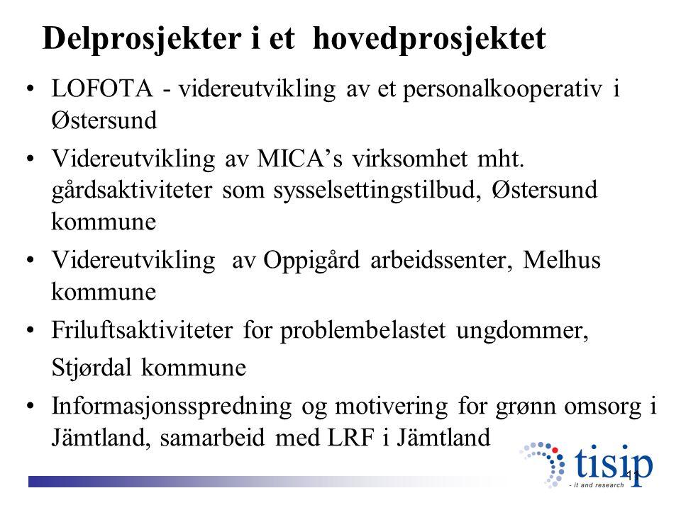 11 Delprosjekter i et hovedprosjektet LOFOTA - videreutvikling av et personalkooperativ i Østersund Videreutvikling av MICA's virksomhet mht.
