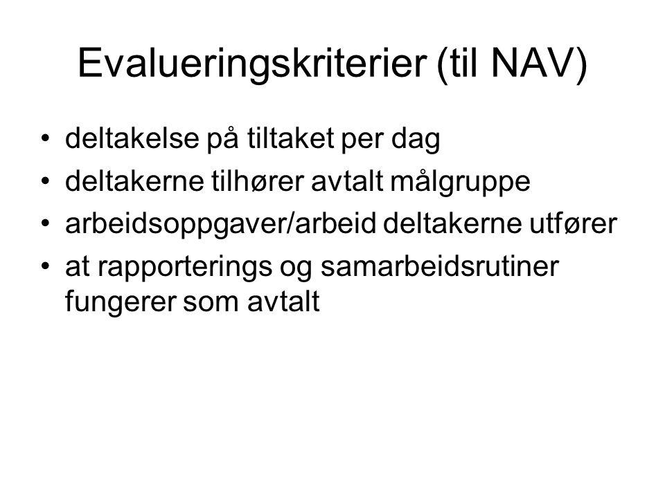Evalueringskriterier (til NAV) deltakelse på tiltaket per dag deltakerne tilhører avtalt målgruppe arbeidsoppgaver/arbeid deltakerne utfører at rappor