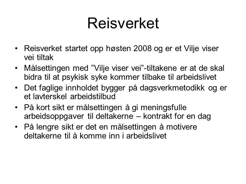 """Reisverket Reisverket startet opp høsten 2008 og er et Vilje viser vei tiltak Målsettingen med """"Vilje viser vei""""-tiltakene er at de skal bidra til at"""