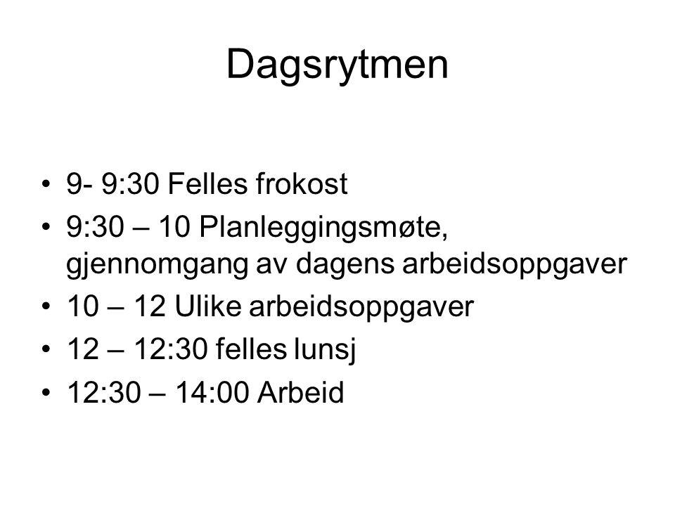 Dagsrytmen 9- 9:30 Felles frokost 9:30 – 10 Planleggingsmøte, gjennomgang av dagens arbeidsoppgaver 10 – 12 Ulike arbeidsoppgaver 12 – 12:30 felles lu