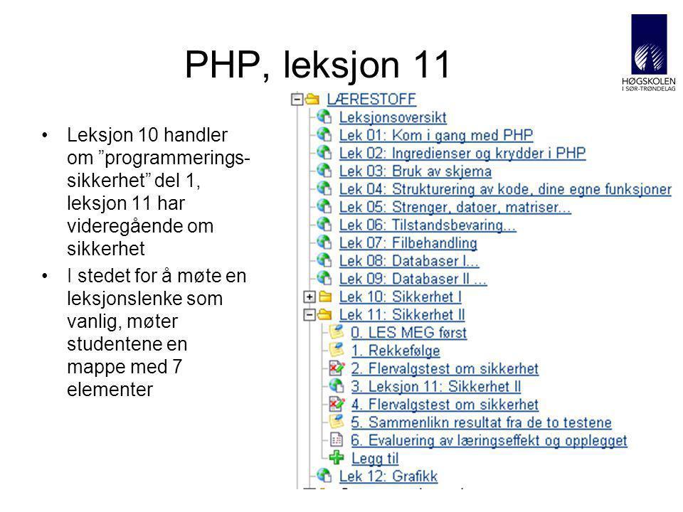 AITeL 25 PHP, leksjon 11 Leksjon 10 handler om programmerings- sikkerhet del 1, leksjon 11 har videregående om sikkerhet I stedet for å møte en leksjonslenke som vanlig, møter studentene en mappe med 7 elementer
