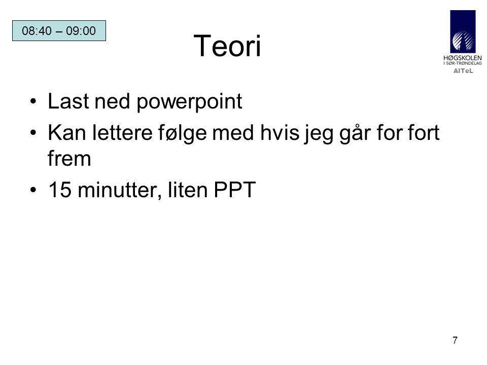 AITeL 28 Powerpoint Gitt at du ofte bruker powerpoint på forelesning: –Lag to versjoner, en som du deler ut, og en du viser på tavlen –Utdelt har spørsmål (flervalg) med jevne mellomrom, og ikke svar –Tavleversjon har spørsmålene, men svarene kommer (gjerne/helst implisitt) på neste foil –Studentene har nettopp slitt med å svare, og får så umiddelbar tilbakemelding.