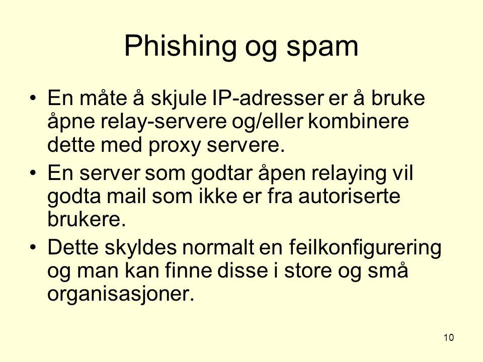 10 Phishing og spam En måte å skjule IP-adresser er å bruke åpne relay-servere og/eller kombinere dette med proxy servere. En server som godtar åpen r