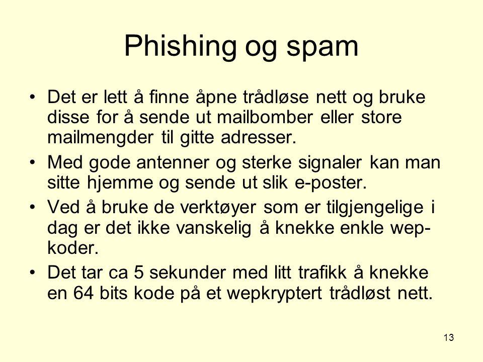 13 Phishing og spam Det er lett å finne åpne trådløse nett og bruke disse for å sende ut mailbomber eller store mailmengder til gitte adresser.