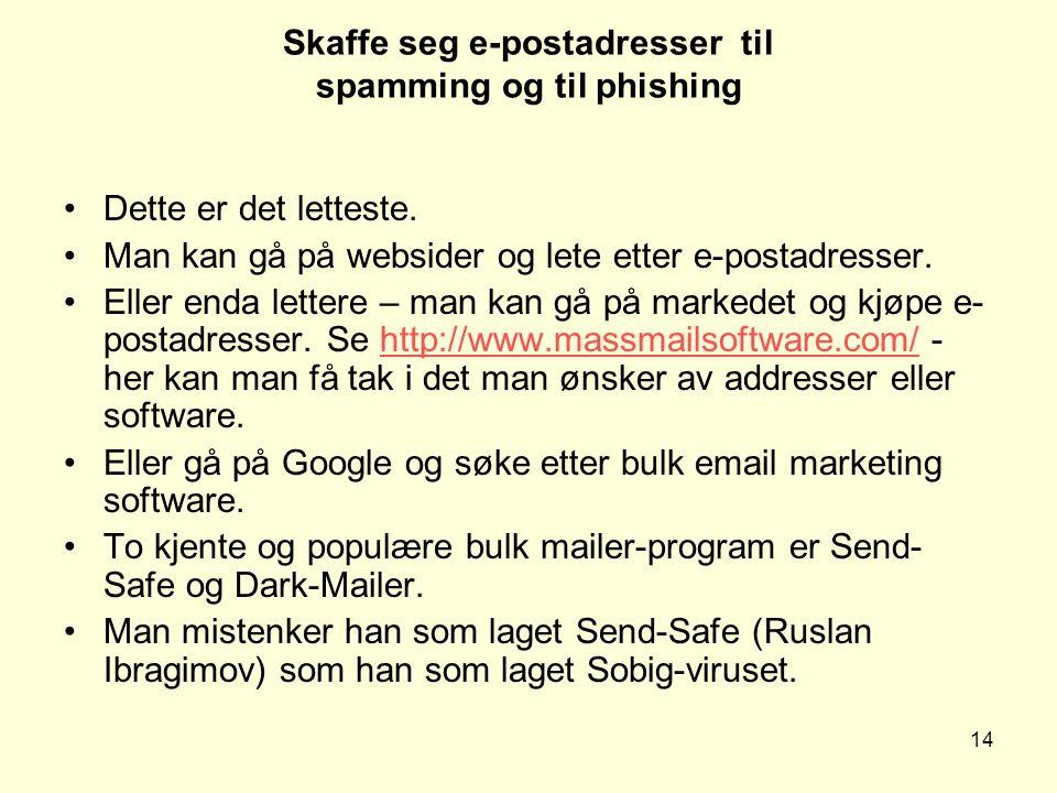 14 Skaffe seg e-postadresser til spamming og til phishing Dette er det letteste.