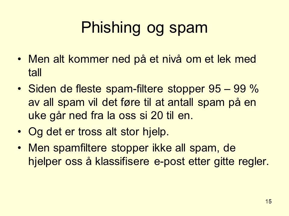 15 Phishing og spam Men alt kommer ned på et nivå om et lek med tall Siden de fleste spam-filtere stopper 95 – 99 % av all spam vil det føre til at an