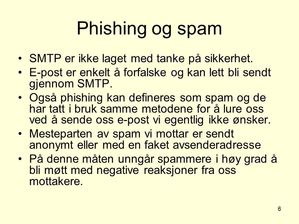 6 SMTP er ikke laget med tanke på sikkerhet. E-post er enkelt å forfalske og kan lett bli sendt gjennom SMTP. Også phishing kan defineres som spam og