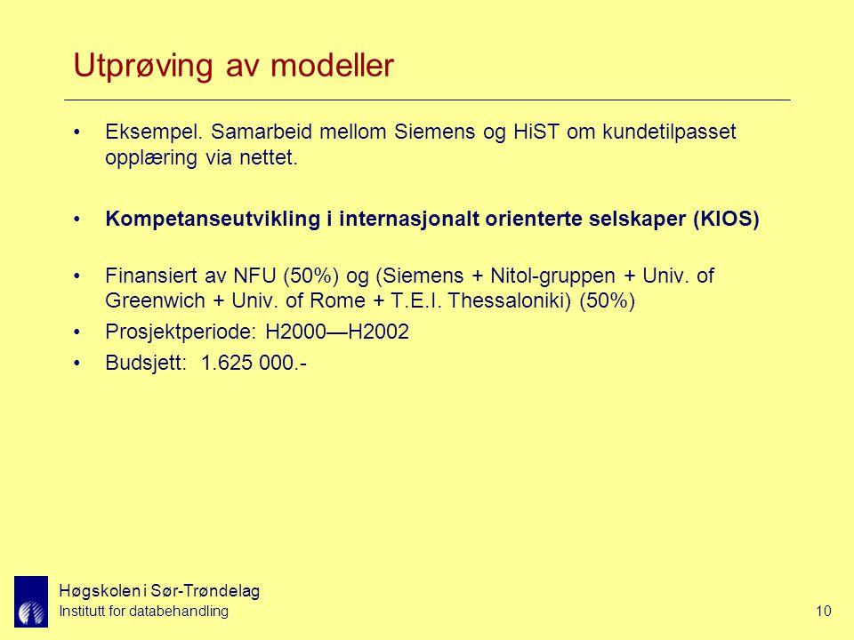 Høgskolen i Sør-Trøndelag Institutt for databehandling10 Utprøving av modeller Eksempel.