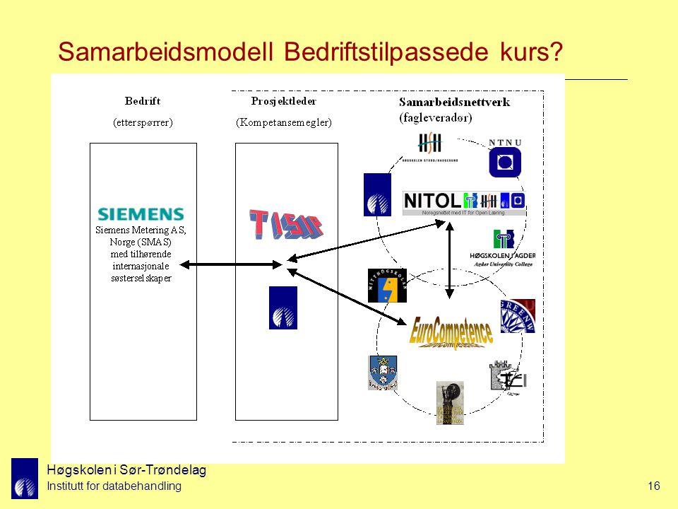 Høgskolen i Sør-Trøndelag Institutt for databehandling16 Samarbeidsmodell Bedriftstilpassede kurs?