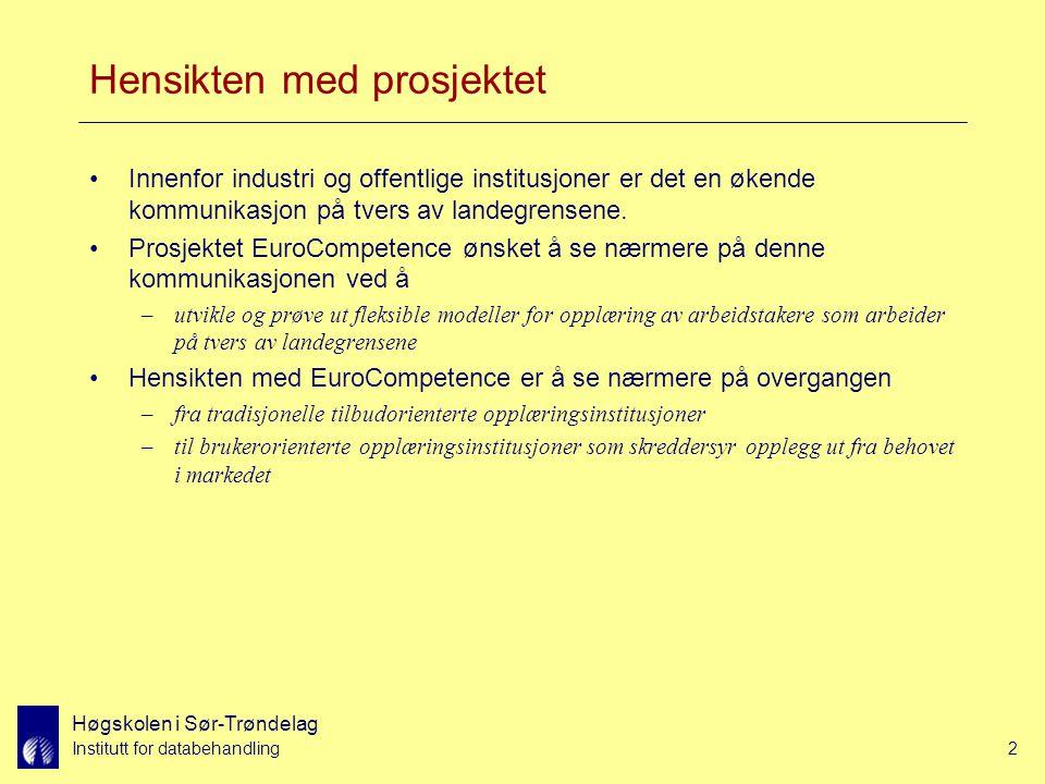 Høgskolen i Sør-Trøndelag Institutt for databehandling2 Hensikten med prosjektet Innenfor industri og offentlige institusjoner er det en økende kommunikasjon på tvers av landegrensene.