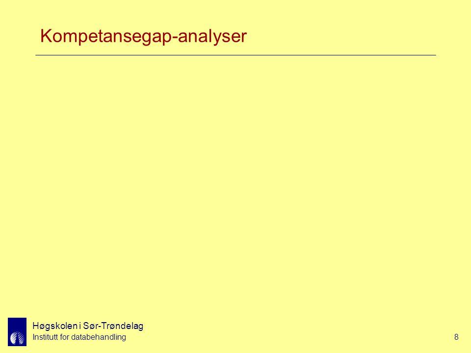 Høgskolen i Sør-Trøndelag Institutt for databehandling8 Kompetansegap-analyser