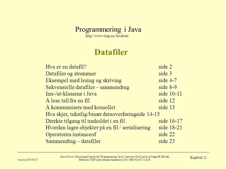 Programmering i Java http://www.tisip.no/Javabok/ versjon 2000-08-15 Kun til bruk i tilknytning til læreboka Programmering i Java skrevet av Else Lervik og Vegard B.