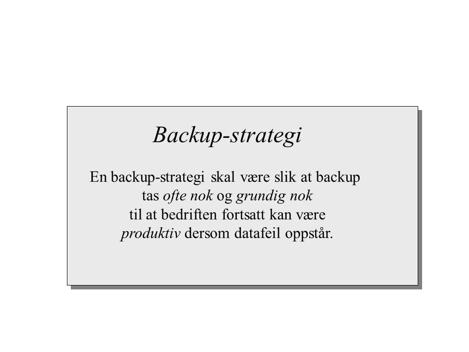 Backup-strategi En backup-strategi skal være slik at backup tas ofte nok og grundig nok til at bedriften fortsatt kan være produktiv dersom datafeil o