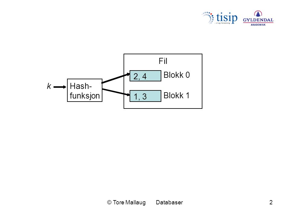 © Tore Mallaug Databaser2 2, 4 1, 3 Blokk 0 Blokk 1 Hash- funksjon Fil k