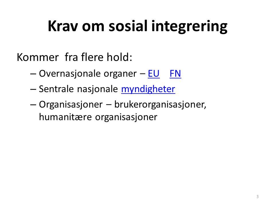 Krav om sosial integrering Kommer fra flere hold: – Overnasjonale organer – EU FNEUFN – Sentrale nasjonale myndighetermyndigheter – Organisasjoner – b