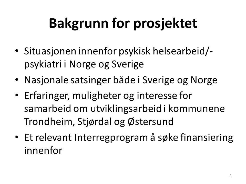 Bakgrunn for prosjektet Situasjonen innenfor psykisk helsearbeid/- psykiatri i Norge og Sverige Nasjonale satsinger både i Sverige og Norge Erfaringer