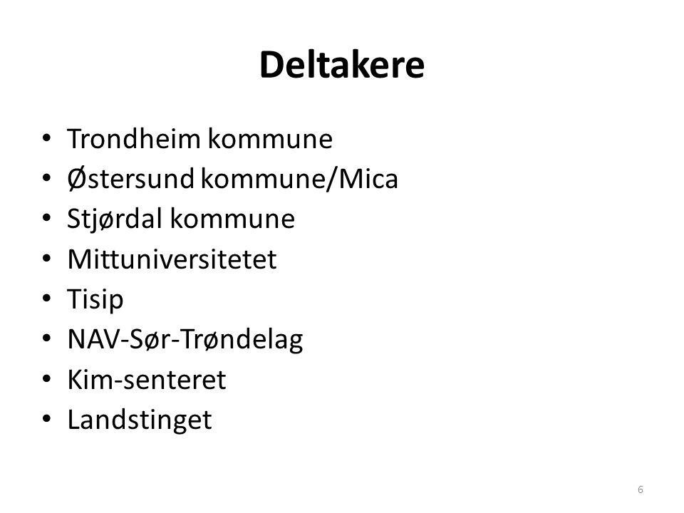 Deltakere Trondheim kommune Østersund kommune/Mica Stjørdal kommune Mittuniversitetet Tisip NAV-Sør-Trøndelag Kim-senteret Landstinget 6