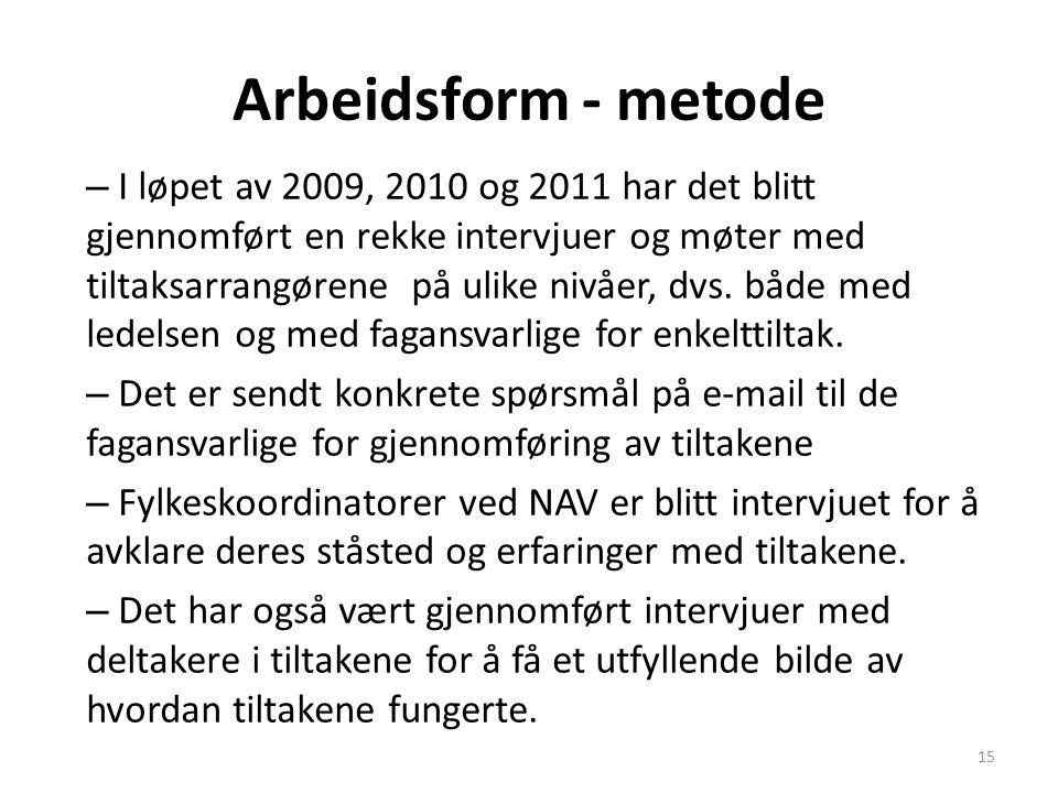 Arbeidsform - metode – I løpet av 2009, 2010 og 2011 har det blitt gjennomført en rekke intervjuer og møter med tiltaksarrangørene på ulike nivåer, dvs.