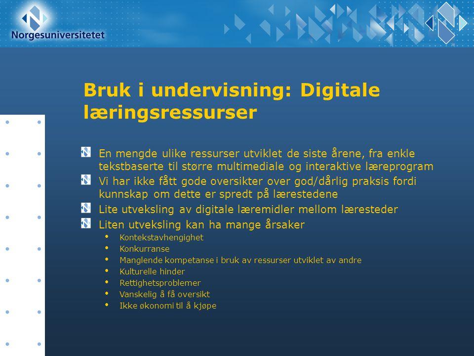 Bruk i undervisning: Digitale læringsressurser En mengde ulike ressurser utviklet de siste årene, fra enkle tekstbaserte til større multimediale og in