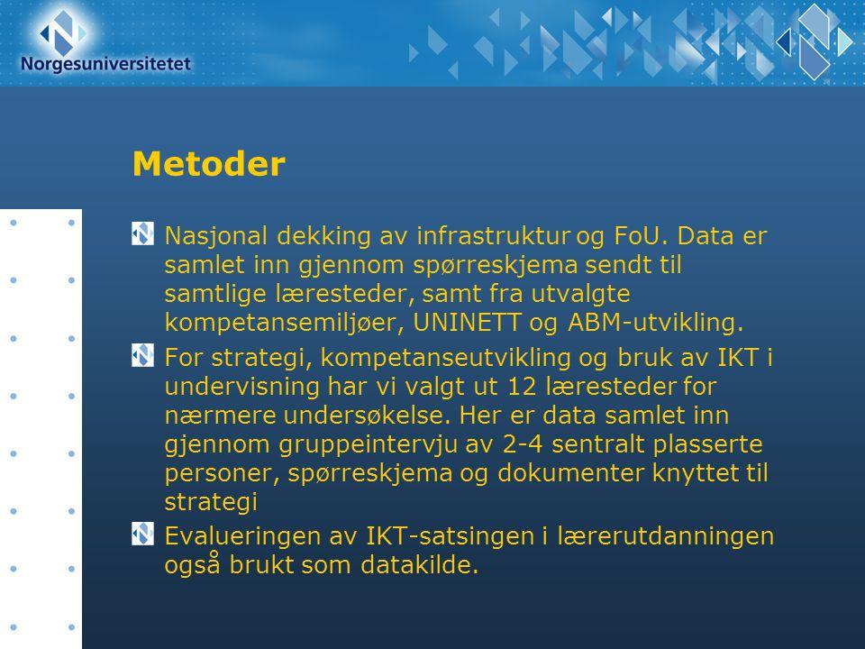 Metoder Nasjonal dekking av infrastruktur og FoU. Data er samlet inn gjennom spørreskjema sendt til samtlige læresteder, samt fra utvalgte kompetansem