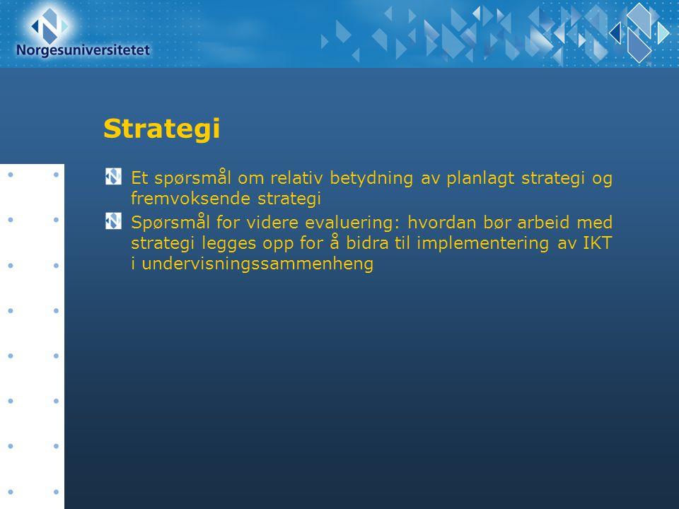 Strategi Et spørsmål om relativ betydning av planlagt strategi og fremvoksende strategi Spørsmål for videre evaluering: hvordan bør arbeid med strateg